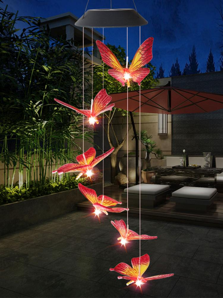 Color Changing LED Solar Butterfly Shape Wind Chime Light Yard Garden Decor