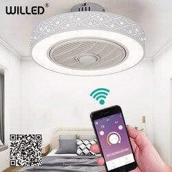50cm LED smart afstandsbediening plafond ventilator met licht suppot mobiele telefoon app onzichtbare fans home verlichting circulaire ronde