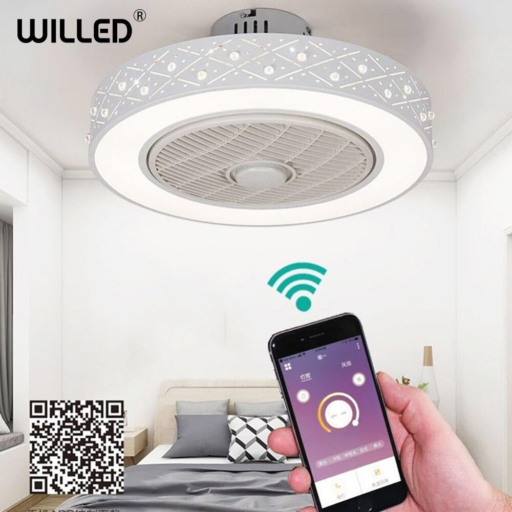 Ventilateur de plafond avec lumière LED bluetooth support de télécommande intelligente téléphone mobile app ventilateurs invisibles éclairage à la maison circulaire rond