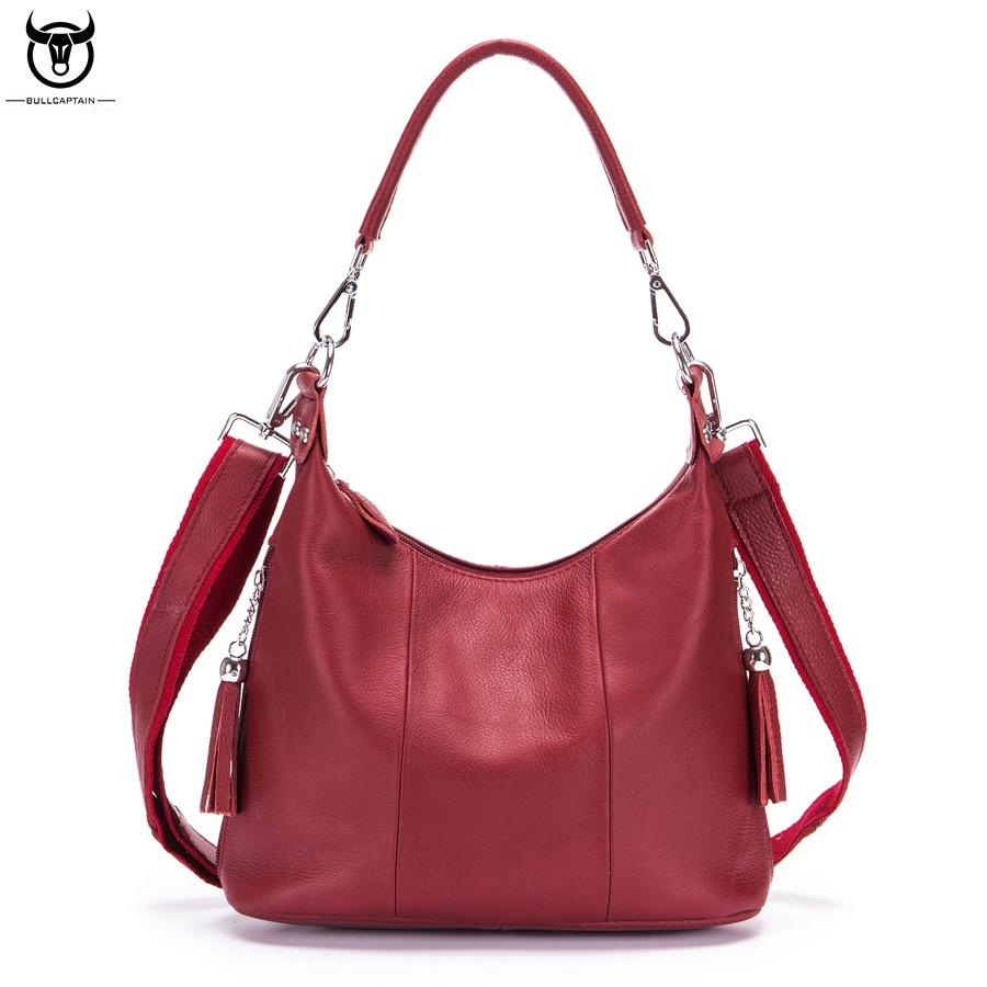 BULLCAPTAIN Brand Genuine Leather Top-handle Handbag Toes Women's Crossbody Shoulder Bag Ladies Cowhide Messenger Bag For Travel