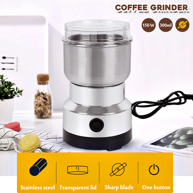 Warmtoo Electric Coffee Bean Grinder 300ml Blenders For Home Kitchen Office Stainless Steel 150W 220V Portable Home Office Use 1