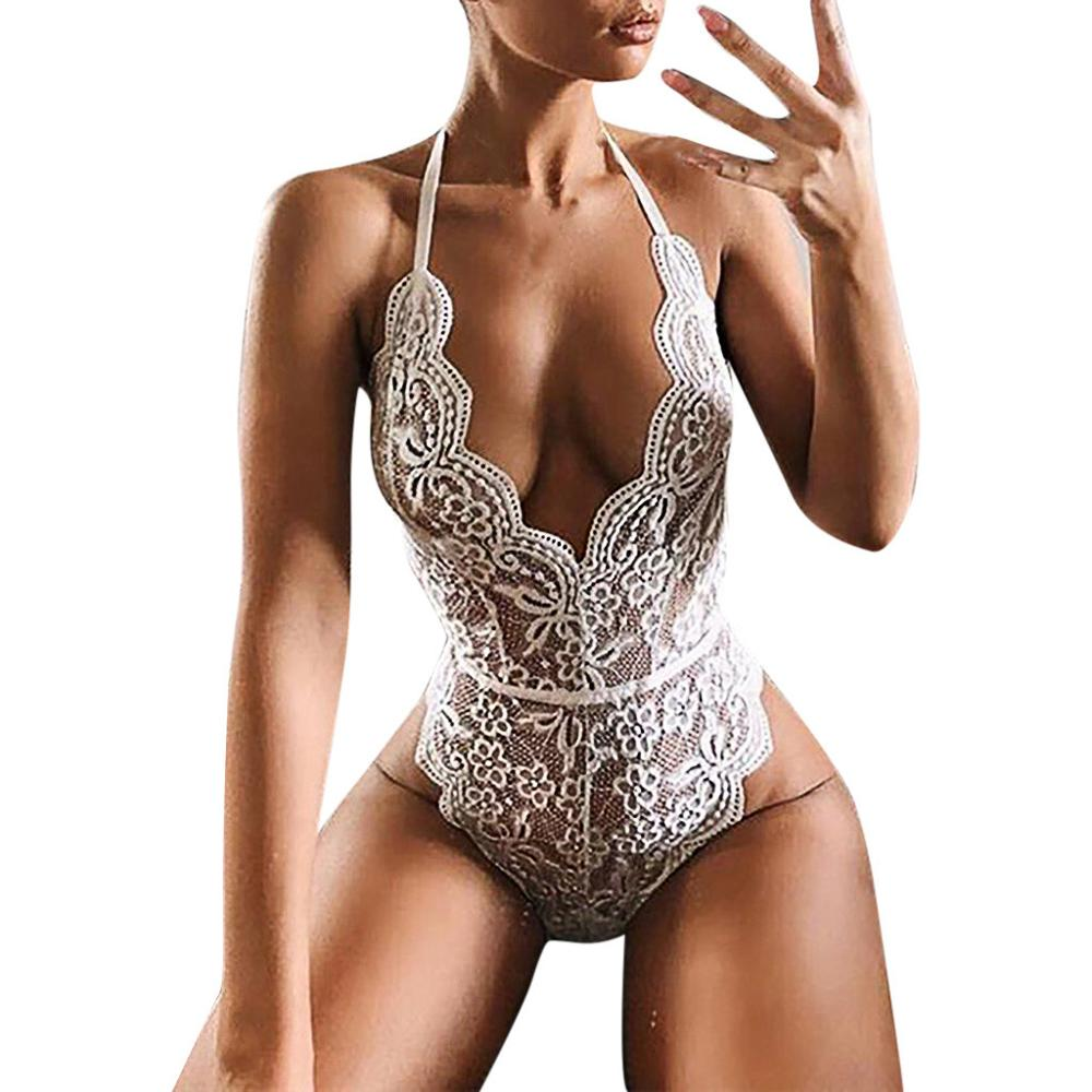 Rompers   Women Jumpsuit Bodysuit Body Mujer Sexy Backless Lace Halter Deep V-Neck   Romper   Bodysuit Macacao Feminino Black Jumpsuit