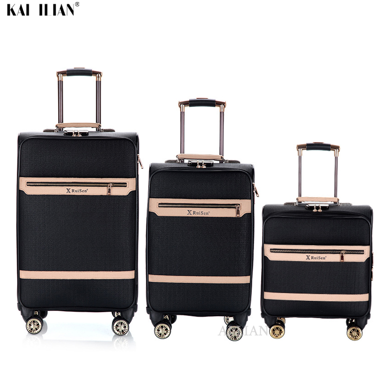 New 16''20''24 Inch Suitcase On Wheels Travel Trolley Luggage Cabin Suitcase Carry On Bag 3pcs PU Leather Rolling Luggage Set