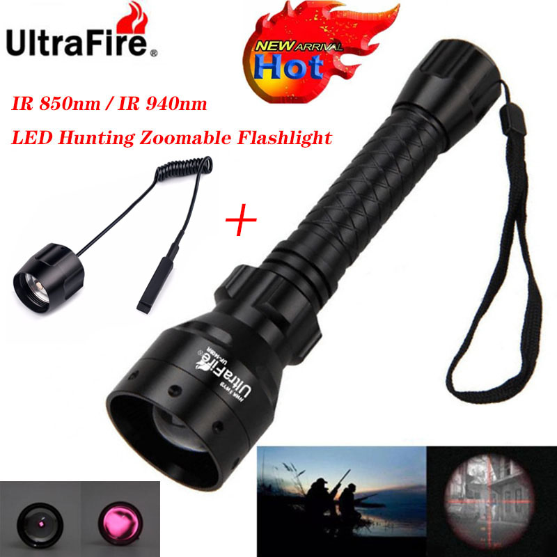 Ultrafire IR Night Vision Flashlight 10W 850/940nm LED Zoomable Luz Infrared Radiation Tactical Flashlight Remote Hunting Torch