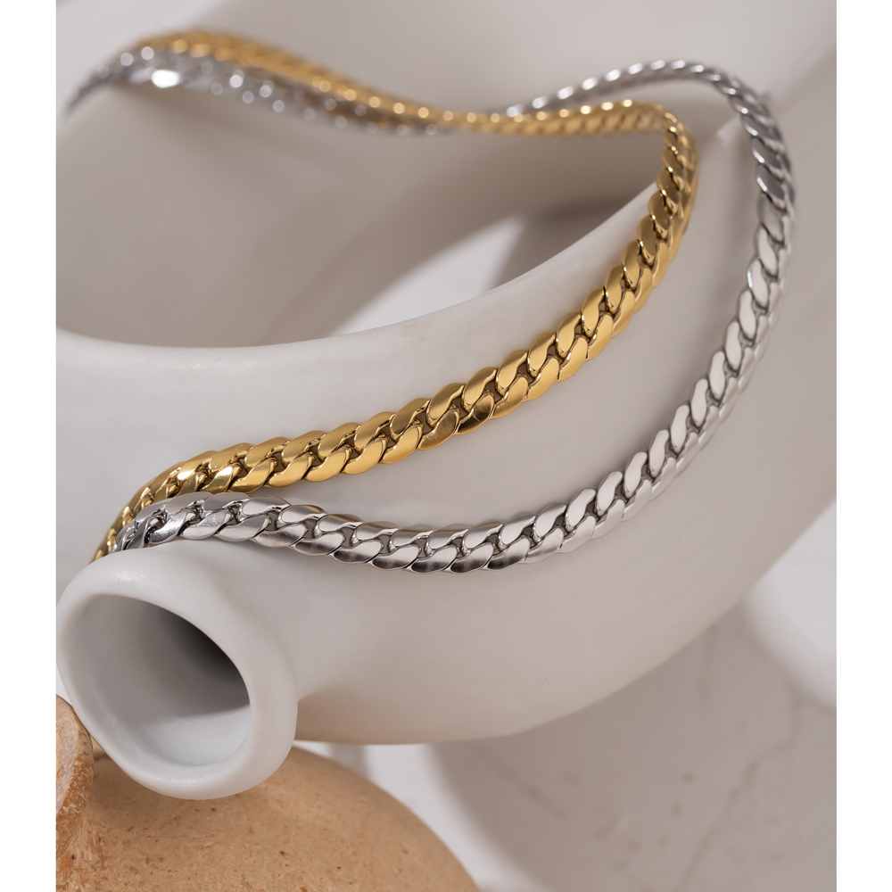 Yhpup 2021 Statement Snake Chain Choker Necklace Stainless Steel Metal Texture Collar Necklace Jewelry бижутерия для женщин New