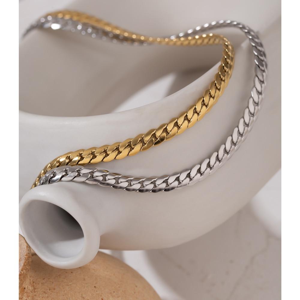 Yhpup 2021 Statement Snake Chain Choker Necklace Stainless Steel Metal Texture Collar Necklace Jewelry бижутерия для женщин New