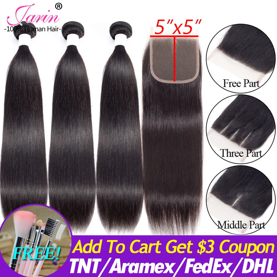 Brazilian Straight Hair Bundles With Closure 5x5 Human Hair 3 Bundles With Lace Closure Free Middle Three Part Remy Jarin Hair-in 3/4 Bundles with Closure from Hair Extensions & Wigs