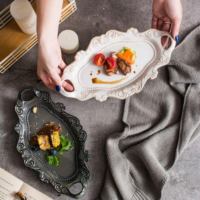 Vaisselle Double oreille en relief | Assiette en céramique de noël vaisselle blanche occidentale, plateau en relief avec four, glaçure vaisselle plateau brun assiette de poisson
