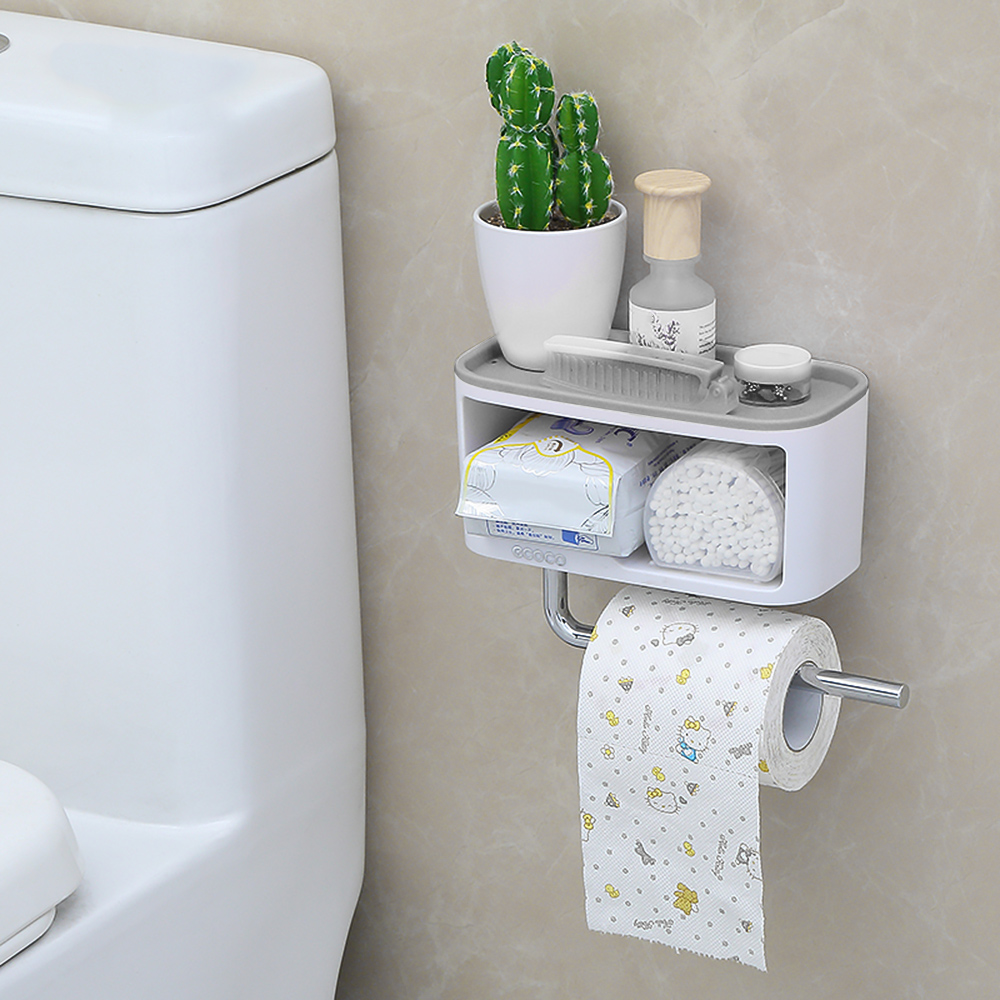 Home Storage Wall Mounted Storage Shelve Storage Box Rack Cosmetic Toiletrie Sundries Storage Holder With Towel Bar For Bathroom