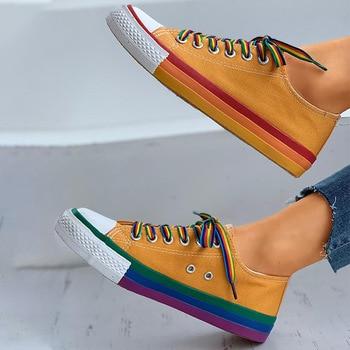 Women Flat Sneakers Lace up Colorful Graffiti Platform Female PU Flats Fashion Ladies Walking Vulcanized Shoes 2021 Spring New 10