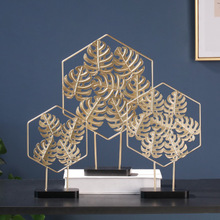 Nordic Light Luxury Golden Iron Turtle Back Leaf Ornaments Creative Home Decoration Living Room Wine Cabinet Desktop Ornament creative pineapple living room restaurant home wine cabinet decoration ornaments props 020 y