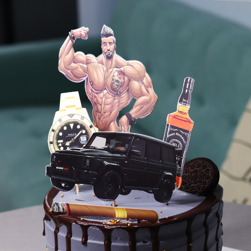 Swell Handsome Muscle Fitness Man Wine Watch Car Rich Theme Cake Topper Personalised Birthday Cards Xaembasilily Jamesorg