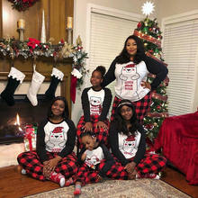 2020 клетчатые женские пижамы с длинными рукавами Семейные рождественские
