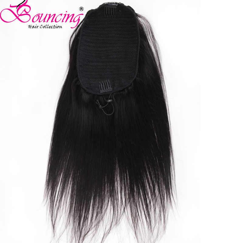 Pinza de pelo Remy brasileño de cola de caballo recta en cola de caballo cordón Natural negro 100% extensión de cabello humano para mujer