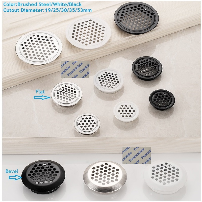 10Pcs/Lot Stainless Steel Round Air Vent Mesh Hole Louver Kitchen Bath Shoe Closet Cupboard Brushed Steel White Black Lacquer