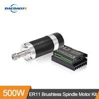 CNC Spindle ER11 600W Brushless DC Spindle Motor Driver Stepper Motor Driver 13pcs ER11 Collet Milling Cutter For CNC Machine