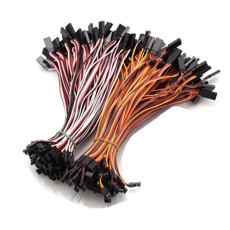10PCS 100mm 150mm 200mm 300mm 500mm 26AWG To Male Futaba JR Plug Servo Extension Lead Wire Cable