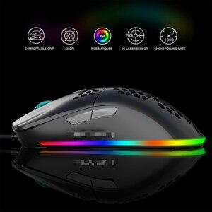 Image 2 - Mouse da gioco USB J900 con retroilluminazione RGB con Mouse cablato da 6400 DPI con sei Design ergonomico cavo regolabile per giocatori di Computer Desktop