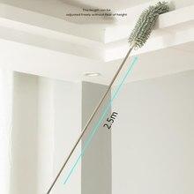 Telescópica alongar espanador microfibra chenille casa limpeza de aço inoxidável remoção poeira escova teto limpo multifunções