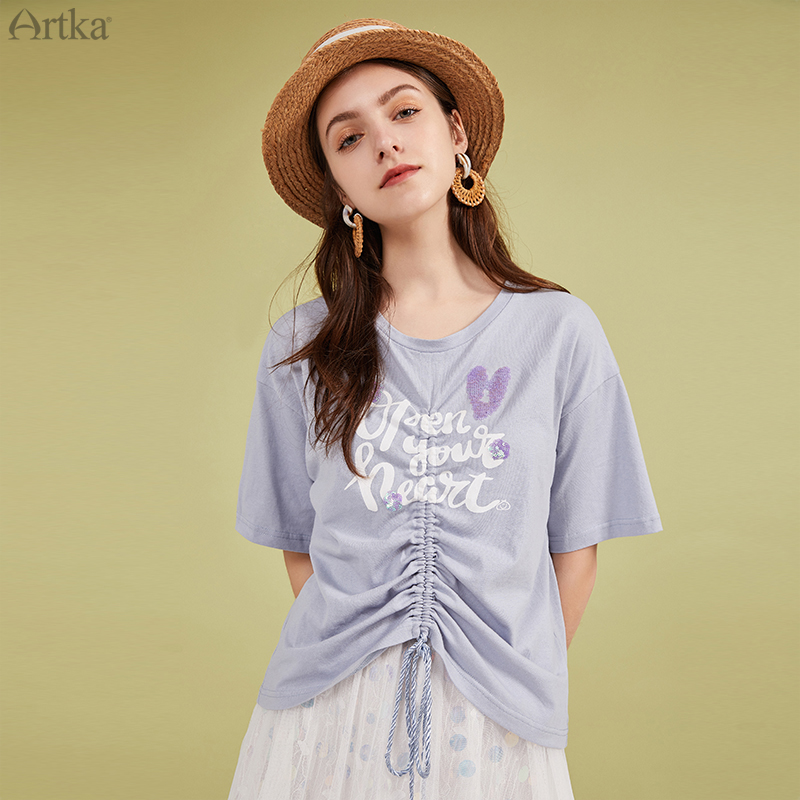 ARTKA 2020 Summer New Women T-shirt Pure Cotton Fashion Letter Sequins T-shirt Loose Drawstring Short Sleeve T-shirts TA20105X