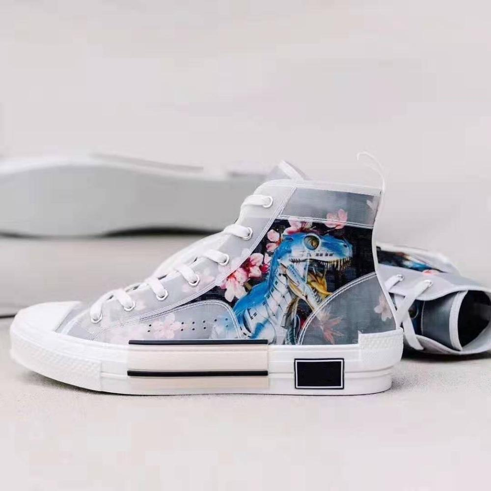 Mens High-Top Casual Shoes Dinosaur Skate Lace Up Sneakers Shoes