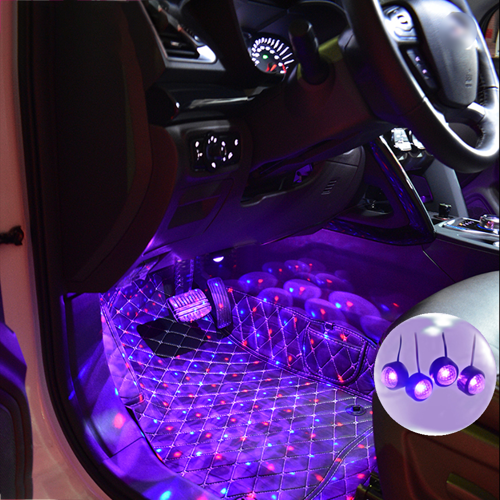4 In 1 Car LED Atmosphere Lights Colorful RGB Interior Floor Foot Lights Universal Auto USB Decorative Ambient Lamp Car Styling