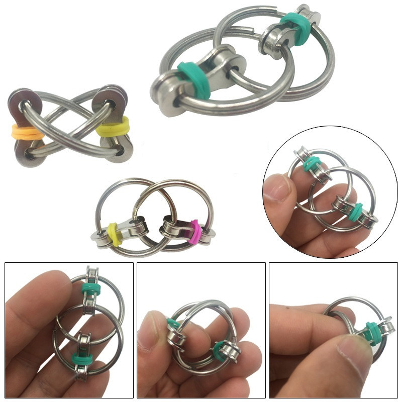 Sensory Toys Chain Fidget-Toy Key-Ring Hand-Spinner Stress-Relieve Metal Desestresantes