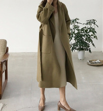 New Double-faced Khaki Green Cashmere Overcoat Long Autumn and Winter Wool Woman 2019 Coat