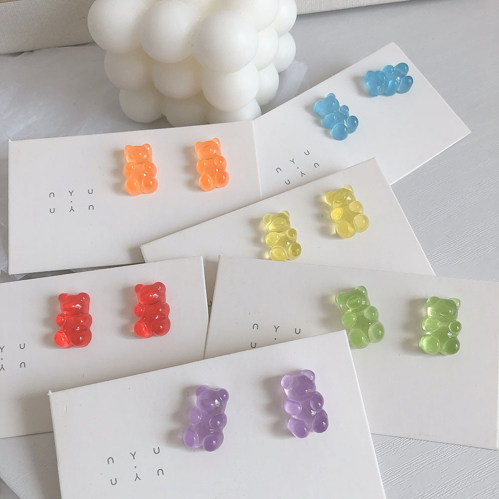 1 Pair Cartoon Gummy Bear Earring For Women Girl Lovely Handmade Colorful Resin Candy Stud Earring Funny Jewelry