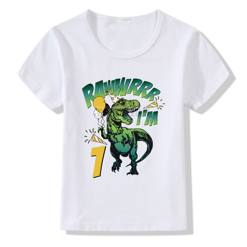 Happy Birthday T-shirt Kids Baby Girls Boys Birthday Tops Funny I'm Rawwrrr <font><b>Dinosaur</b></font> Tee Shirts Children Summer White <font><b>Tshirt</b></font> image