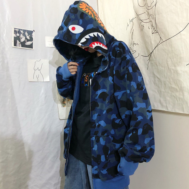 Shark Camouflage Hoodie Stylish Hoodies Unisex color: Blue|Fuchsia|White