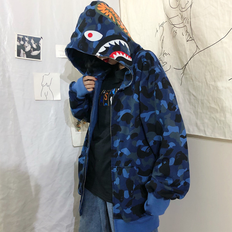 FMZXG Spring And Autumn 2020, Waitmore Shark Camouflage Hoodie Available Loose-fitting Slouchy Jacket