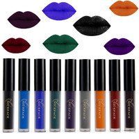 9 Color Liquid Lipstick Waterproof Long Lasting Cosmetic Black Blue Purple Green Matte Make Up Lip Gloss Nude Lipstick Halloween