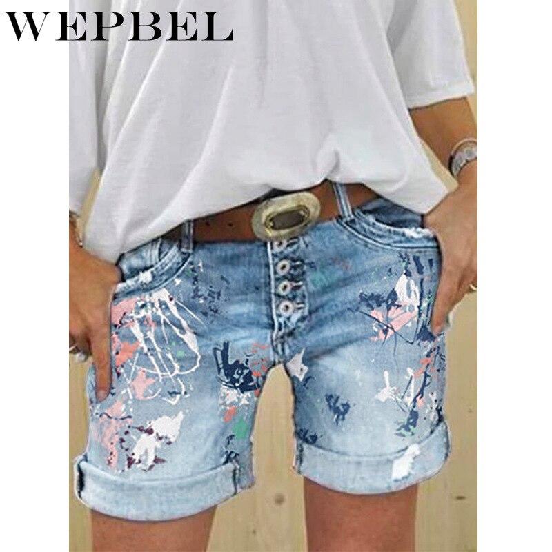 Wepbel Women Jeans Floral Printing High Waist Denim Short Pants Plus Size Short Pant Women's Denim Shorts Washing Print Jeans