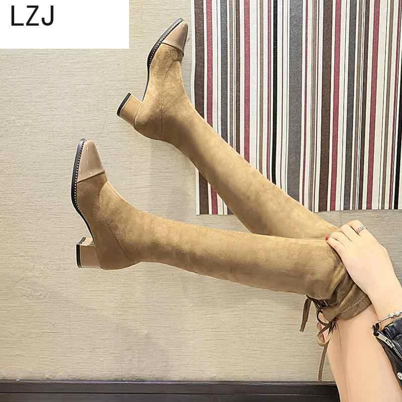 LZJ2019 vente mode bottes longues pour les femmes en cuir Nubuck Sexy Stovepipe sur le genou talons hauts Zapatos De Mujer bottes De mode