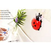 Plastic Ladybug-shaped Toothbrush Holder Wall Sucker Cartoon Bathroom Toothpaste With Suction Cups(China)