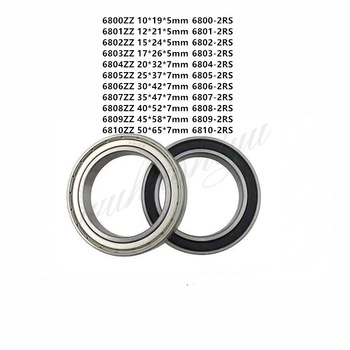 6800/6801/6802/6803/6804/6805/6806/6807/6808/6809/6810-2RS Thin Wall Metal Shielded Bearing Rubber Sealed Bearing Ball Bearings image