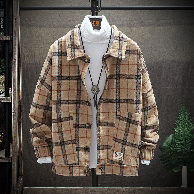 Woolen Jacket Men 2019 Spring Retro Vintage Casual Wool Plaid Coat Male Fashion Coats Jackets Korean Streetwear Man