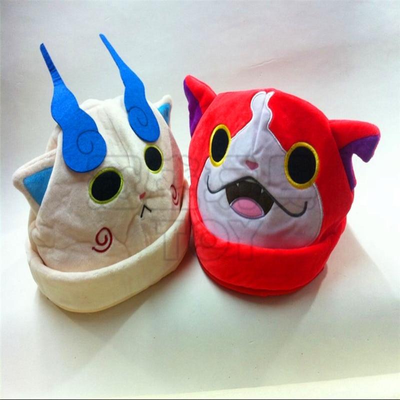 50cm Around New Cosplay Japan Yokai Watch Hat Cap  Red Cat Koma San Soft Plush Doll Anime Kids Toys