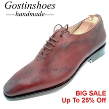 Goodyear Welted Handmade Men Dress Shoes Brown Genuine Leather Men Formal Shoes Oxfords Pointed Toe Lace-up Men Shoes GSTN013 стоимость