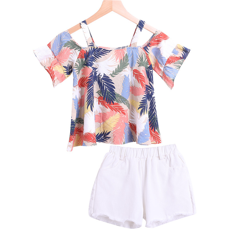 2020 summer Girls Cute Printing Fashion Suspender Shorts Set floral print white 2pcs D10.05 1