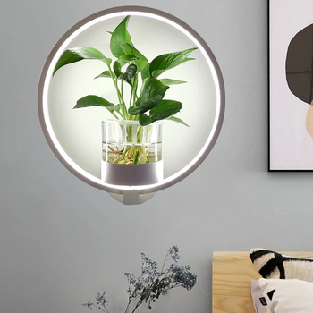 Creative LED plant wall light, simple modern bedside lamp creative personality aisle living room corridor lamp wall lamp creative living room lamp simple modern atmosphere nordic postmodern personality led pendant lamp bedroom lamp home lamp