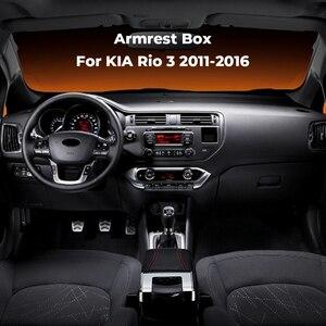 Image 2 - Armlehne Box Für Kia Rio 3 2011 2016 PU Leder Zentrale Container Storage Box Armlehne Box Auto Styling Zubehör