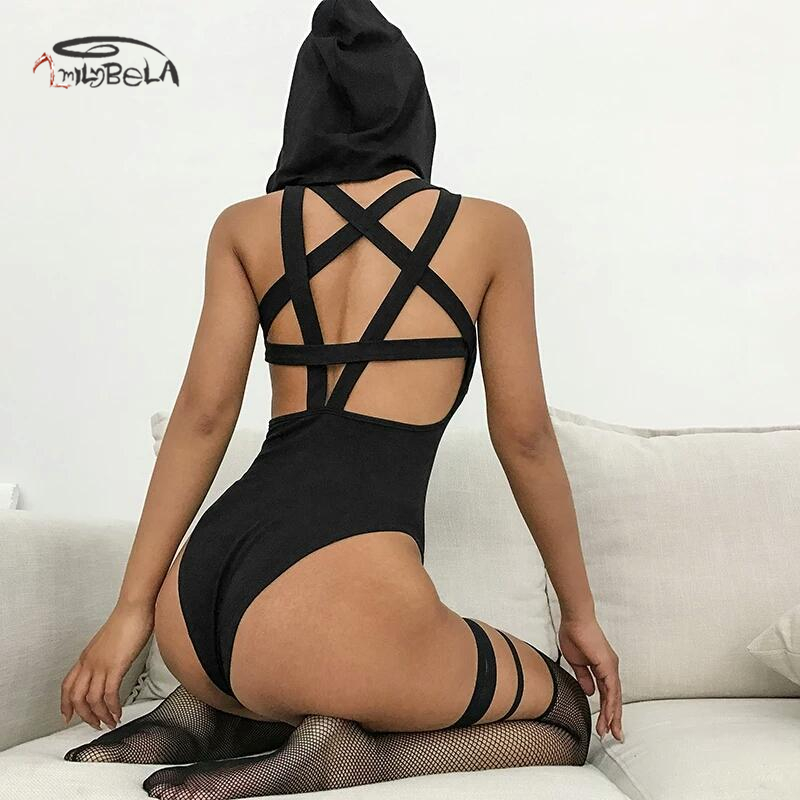 Imily Bela Gothic Hooded Bodysuit Women Sexy Sleeveless Backless Pentagram Hollow Out Black Bodysuits Ladies Skinny Body Mujer