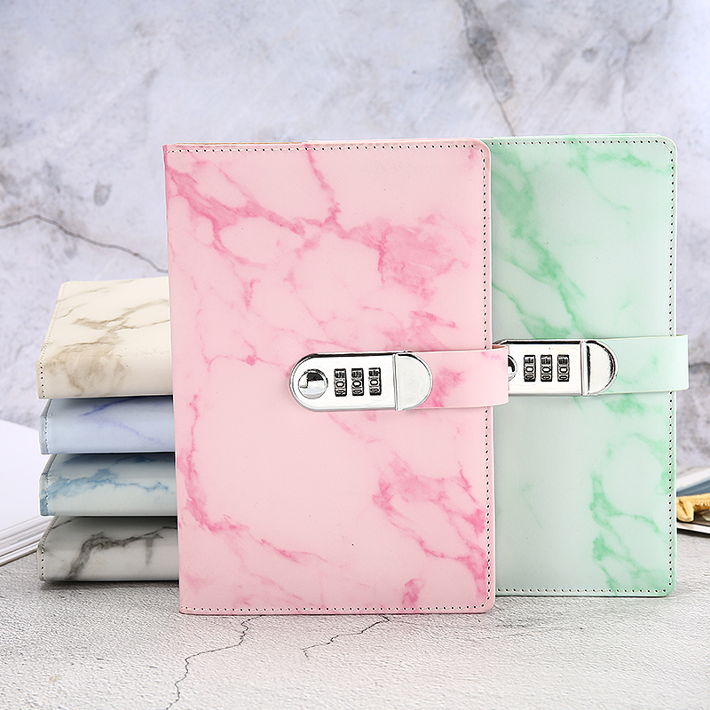 A5 Marble Texture Notebook Password Lock Notebooks Leather Notepad Agenda 2019 2020 Weeks Diary Month Planner School  Stationery