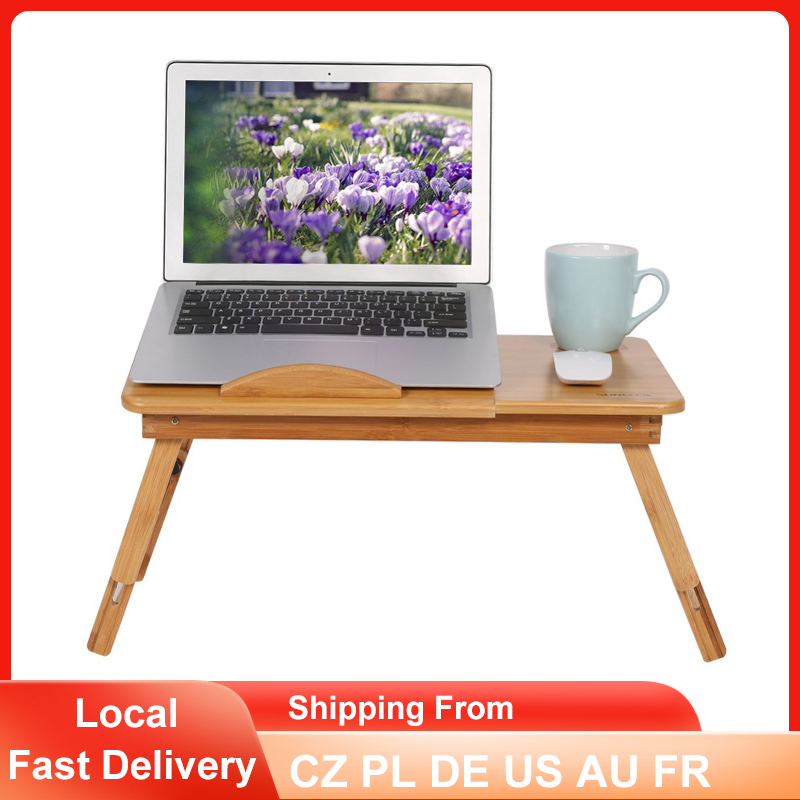 Bamboo Computer Desk Portable Folding Sofa Bed Laptop Table Adjustable Ergonomic Office Notebook PC Lap Stand with Drawer