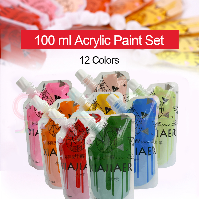 12 Colors 100ML Acrylic Paint Set Professional Drawing Pigment Watercolor Paints Tube for Art Student Painter Painting Supplies
