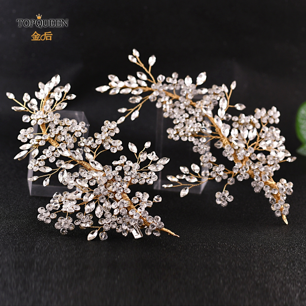 TOPQUEEN HP253-G Gold Hair Accessories Wedding Crystal Hair Accessories Bridal Headbands Wedding Rhinestone Headbands For Bride