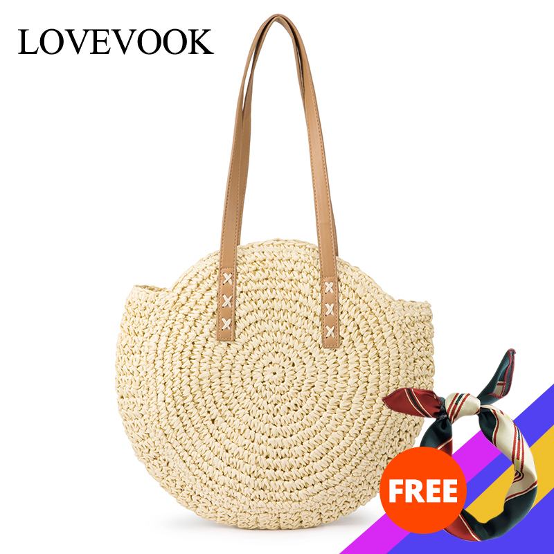 Lovevook Straw Bags For Ladies Summer Beach Bags For Travel Handmade Paper Braid Woven Bamboo And Rattan Bags Large Shoulder Bag
