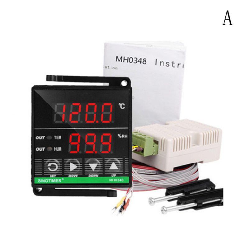 Цифровой PID контроллер температуры и влажности переменного тока 100 240 В двойной дисплей высокоточный термостат реле для теплицы